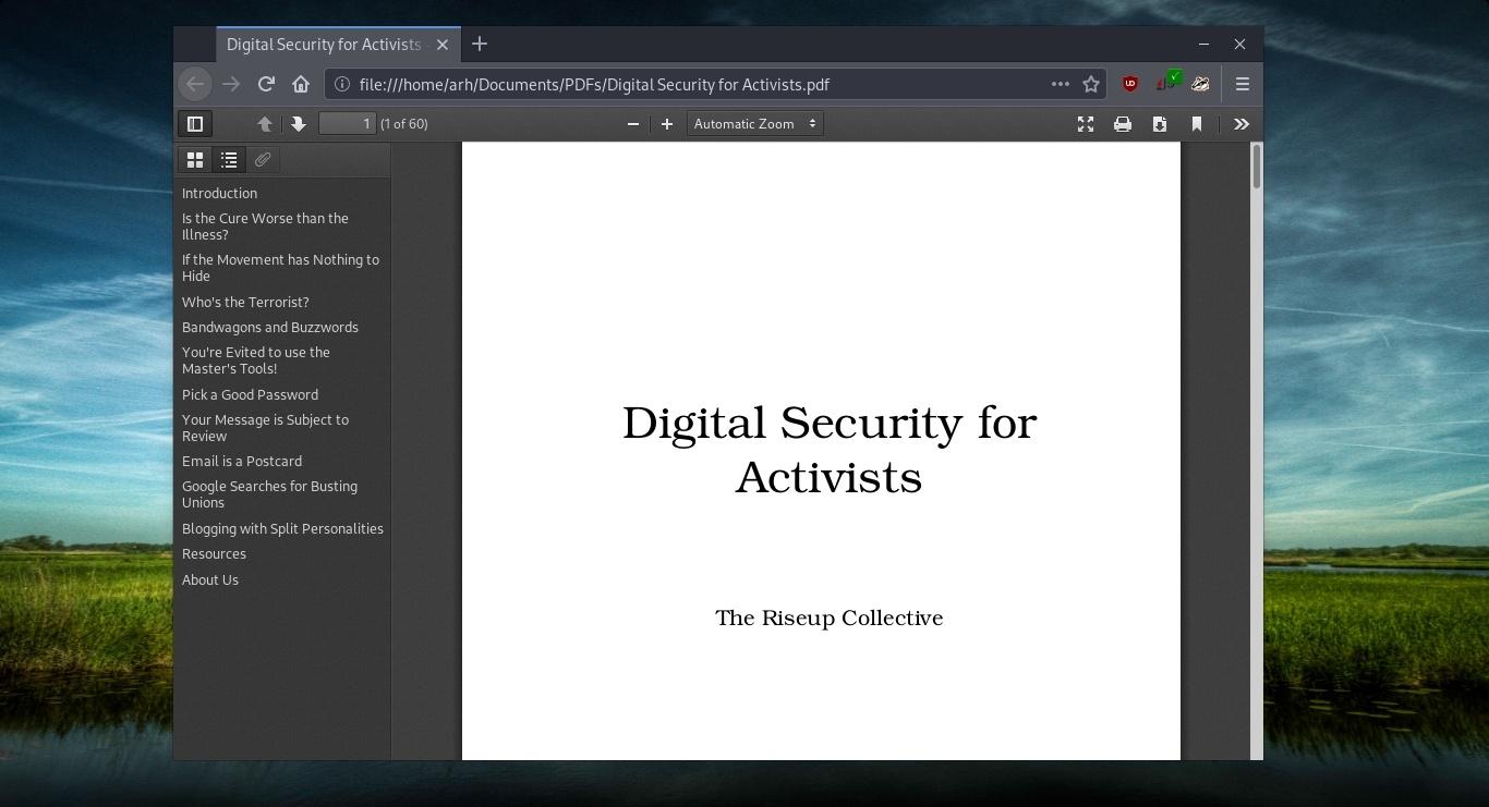 PDF document opened in GNU IceCat