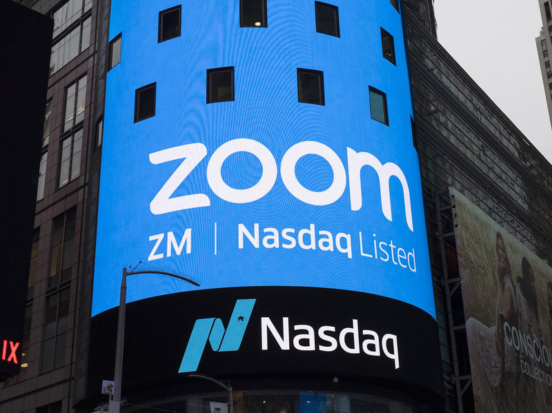 Zoom sign about being on the Nasdaq list