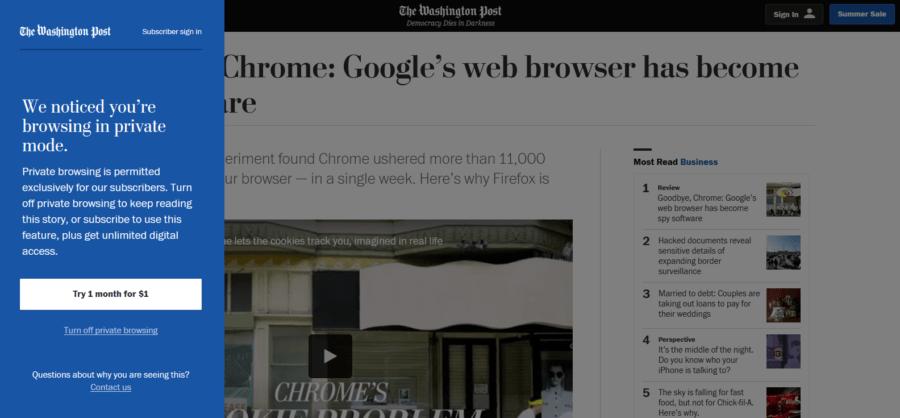 Washington Post private browsing problem