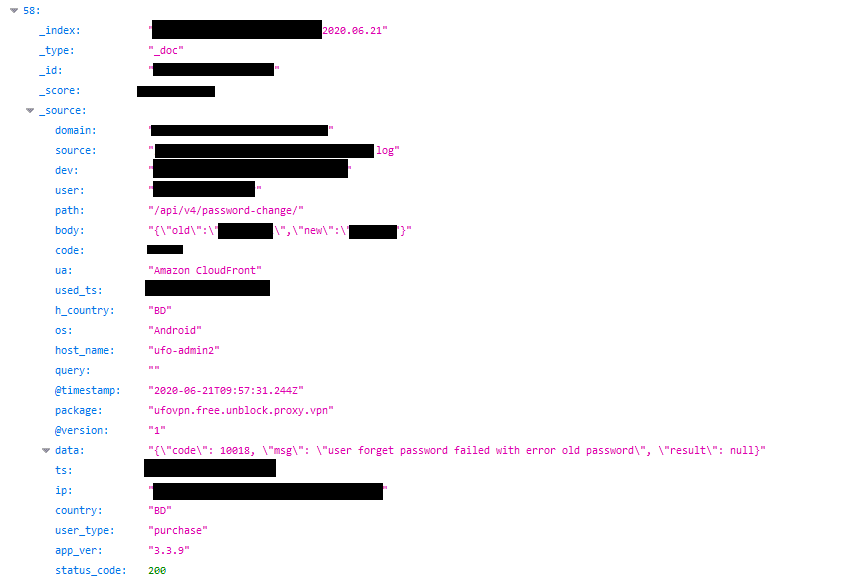 Record of a user from Bangladesh changing their password – shows an old and new password