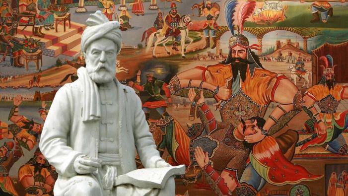 Sculpture of Ferdowsi in front of legends he created in Shahnameh